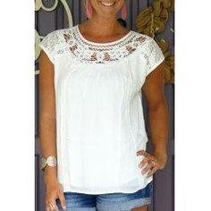 #trendsgal.com - #Trendsgal Scoop Collar Short Sleeve Pure Color Cut Out T Shirt - AdoreWe.com