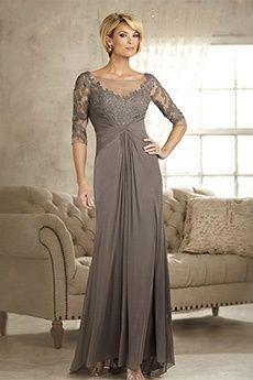 Sheath/Column Bateau Floor-length Chiffon Mother of the Bride Dress