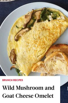 This omelet recipe incorporates wild mushrooms, goat cheese, shallots, and pea shoots to create a bright, refreshing, and savory breakfast or brunch recipe. Whether you're eating this egg recipe on its own, with buttered toast, hash browns, or home fries, it's a great creamy and cheesy recipe for any weekday recipe or weekend brunch.#omeletrecipes #omelets #goatcheese #wildmushrooms #mushroomrecipes #brunchrecipes #breakfastrecipes #eggrecipes Best Brunch Recipes, Egg Recipes For Breakfast, Savory Breakfast, Wild Mushrooms, Stuffed Mushrooms, Cheese Omelet Recipe, Weekday Meals, Cheesy Recipes, Hash Browns