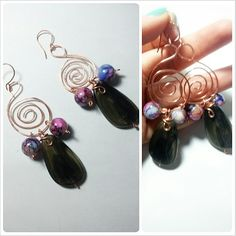 Copper's earrings realized with a long stone included in two colorful stones. One piece is available!