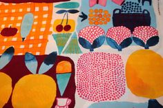 Marimekko-fabric-Kesatori-orange-145x50cm-by-Aino-Maija-Metsola