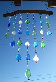 Glass Plate Beach Glass Windchime With Wire by mexicobeachgirl