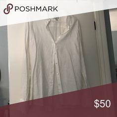 J. Crew linen shirt Never worn! Lightweight white linen shirt, perfect for spring and summer. J. Crew Tops Button Down Shirts