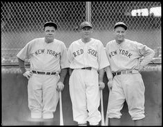 1934-  New York Yankee Babe Ruth, Boston Red Sox Carl Reynolds, and New York Yankee Lou Gehrig at Fenway Park.