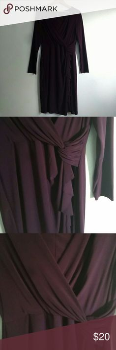 """Plum Faux Wrap Dress Figure flattering faux wrap dress by Chaps. Shoulder to hem measures 41"""" and is made of 95% polyester and 5% elastane. Looks great with flats or tights and boots. Great for date night or work with a cami underneath. Chaps Dresses Midi"""