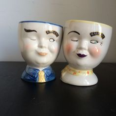 Pair Bailey's Winking Face Mugs Man And Woman 1997 Limited Edition in Collectibles, Barware, Glasses, Cups, Mugs | eBay