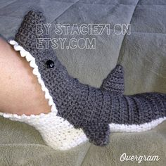 These look awesome! Shark Slipper Socks by stacie71 on Etsy (inspiration), link to pattern for sale as well.