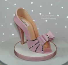 Pink Sugar Shoe with Swarovski Crystals - Cake by The Clever Little Cupcake Company