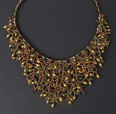 Golden Goddess Beaded Fringe Necklace - Pearls and Crystals