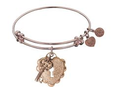 "Rose Finish Brass ""key To My Heart"" Expandable Bangle. Genuine Angelica Collection Expandable Bangle. Gives back $.25 of each bracelet to Generation Rescue (autism). Designed and manufactured in the USA. Uses only recycled metals. Features unique designs."