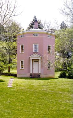 "The author of ""Architectural Follies in America"", KY's Clay Lancaster was charmed by the idea of creating them. His three-story octagonal Warwick Tower contains an elliptical parlor-dining room, a kitchen, 3 bedrooms, 2 baths, a storage area for his research files. Warwick Tower is modeled on the Tower of the Winds, an octagonal tower, probably 1st century, on the agora in Athens. - Taken from ""KENTUCKY - Historic Houses Horse Farms of Bluegrass Country"" - Photographs by Pieter Estersohn"