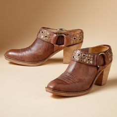 """Famed bootmaker Lucchese® marries the harness boot and clog in this maddog madras leather mule with studded ring collar. Stitched vamp, snip toe and 2"""" stacked leather heel. Imported. Whole and half sizes 6 to 10, 11.View our entire Lucchese Collection."""