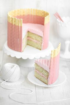 Sprinkle Bakes: Pink Vanilla Pocky Cake (Delicious cake, and the perfect amount of icing! Makes a two-layer, six-inch cake.)