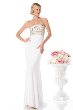 Strapless Long Formal Dress CDCD488. Floor Length Formal Gown with Sweeping Train, Sparkling Rhinestone and Sequins Embellished Strapless Bodice with Open Back featuring Invisible Zipper Closure, Solid Color Long Skirt.