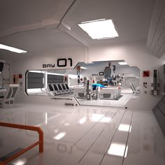 3ds max futuristic sci fi laboratory /// Cool image, I envisioned a taller main room with an overhang and sealed office (chapter 2), but this is pretty close. - Adrian Mendoza, author of The Kaleidoscope