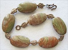 Bold Saturn Jasper & Bronze Necklace in Olive Green and Brick Red - pinned by pin4etsy.com