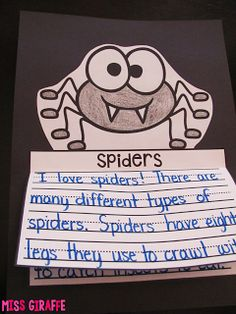 Spiders nonfiction writing craft that is no prep - after learning about spiders kids simply write color cut and glue for an instant craftivity