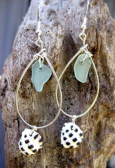 Hawaiian Aqua Beach Glass Drop Silver Filled Wire with Hawaiian Drupe Shell Hoop Earrings. Handmade with Aloha! $33.00
