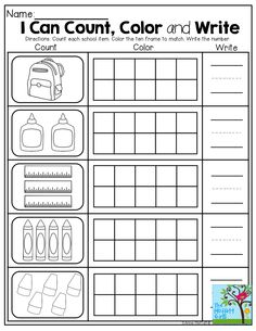 Count, color in the ten frame and write the number! TONS of Back to School printables!
