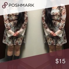 Gray Floral Charlotte Russe dress Floral dress with lace at the hands from Charlotte Russe. Worn once. Belt not included. Charlotte Russe Dresses Long Sleeve
