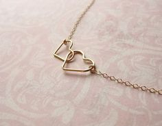 Image of Double heart gold necklace - gold filled mother and child necklace - Heart Necklace ...love this!