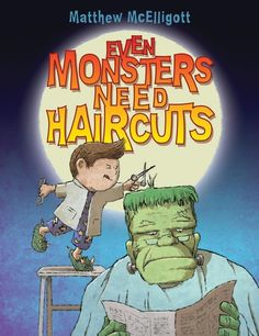 Even Monsters Need Haircuts shares the previously untold story of monstrous hairstyling techniques. Our narrator, a young boy, takes detailed notes as his barber father works on people's hair. When night falls, the boy sneaks from his bedroom. A vampire bat named Vlad leads him across town to a special barbershop, one that only serves mummies, ghouls, and all other sorts of beasties!