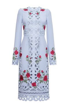 Long Sleeve Intaglio And Rose Embroidered Sheath Dress by Dolce & Gabbana for Preorder on Moda Operandi