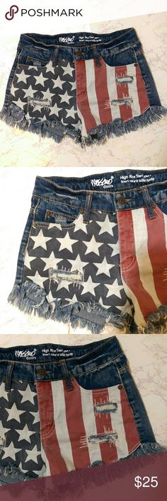 Distressed American Flag Shorts Cool American Flag distressed shorts!  Size: 0/25 Mossimo Supply Co. Shorts Jean Shorts