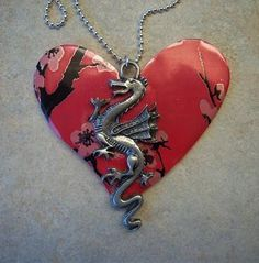 Aluminum Can Jewelry - Dragon Heart Necklace. $9.95, via Etsy.