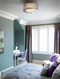 Work spaces are a nice touch to bedrooms / wall color/ ceiling light Home Room Design, House Design, Bedroom Wall Colors, Purple Home, Cat Room, Queen, Beautiful Bedrooms, House Rooms, Colorful Interiors