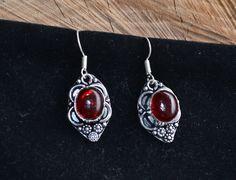 Red Stone Earrings, Red Onyx Earrings, 925 Silver Plated Earrings, Handmade Earrings, Gemstone Earrings, Tribal Earrings, Ethnic (E418) by LKArtChic on Etsy