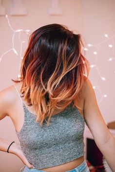 Red ombre | short hair