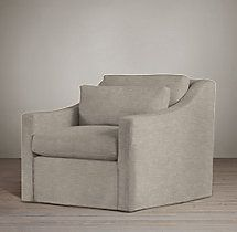 Belgian Clic Slope Arm Swivel Chair Perennials Fabricupholstered