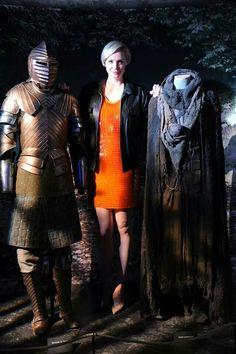 Gwendoline Christie , GoT Exhibition, Austin, Texas with Jaime and Brienne's season 3 costumes