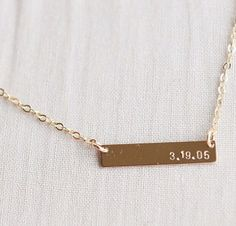 Gold filled anniversary, birthday special date bar necklace