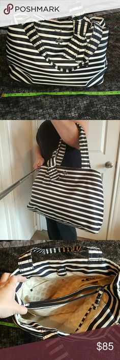 "Kate Spade black and white stripe purse Kate Spade black and white stripe purse, $125 L 15"" x W 6"" x H 10"" and handle drop is 9.5""  No trades please. Happy shopping, don't forget to bundle to save 10%, Ohhh and feel free to make me a reasonable offer with that fabulous little offer button! ;) xoxoxo  P.S. Accessories are not included, interested in the entire outfit? just ask kate spade  Bags Shoulder Bags"
