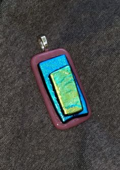 Fused Glass Dichroic Pendant 5 by BigBearPottery on Etsy, $18.00
