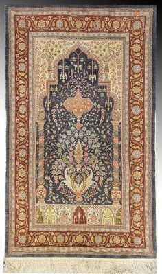 Turkish Hereke silk rug, early 20th c