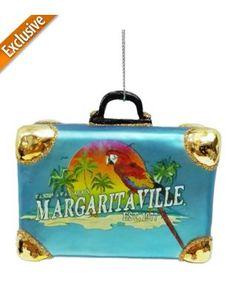 Margaritaville Glass Luggage Ornament