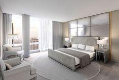 Moderne Schlafzimmer In Weiß Und Grau, Runder Teppich, Boden Aus Holz,  Lampen Mit