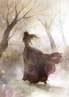 elcisneazul:by Kim Yoon Hee.Sus pasos buscan la espesura. Su corazón agarra la amargura y su aliento la delata. Entonces, huye.