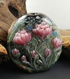 Lampwork Bead ~ Pink Blooms by Cynthia Tilker ....