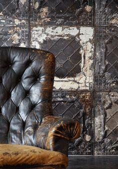 Brooklyn Tins wallpaper ...♥ the chair too!