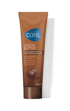 Avon Cocoa Butter Hand Cream -käsivoide sisältää kaakaovoita, joka kosteuttaa pakkasen kuivattamat kädet tehokkaasti. Kaakaon tuoksu kruunaa kokemuksen!