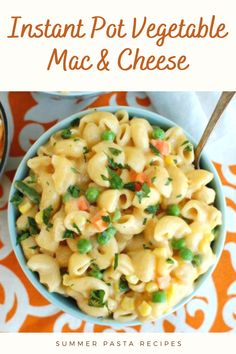 Loaded with vegetables and mixed with three kinds of cheese and milk to create a creamy sauce! Kinds Of Cheese, Macaroni And Cheese, Summer Pasta Recipes, Creamy Sauce, Instant Pot, Milk, Vegetables, Create, Ethnic Recipes