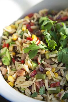 - Wheat salad with black beans, spicy vinaigrette with coriander Orzo Recipes, Easy Salad Recipes, Salad Dressing Recipes, Clean Recipes, Vegetarian Recipes, Cooking Recipes, Healthy Recipes, Dinner Recipes, Clean Eating