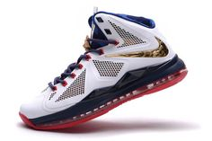 buy online 5f87b 29f7e Nike Air Lebron 10 Carving USA Sport Pack Obsidian White and Blue and
