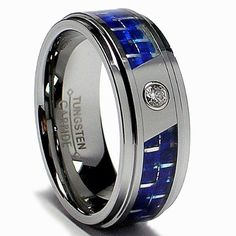 88% Off was $324.99, now is $39.99! 8MM Men`s Tungsten Carbide Ring W/ Blue Carbon Fiber Inaly and CZ sizes 7 to 13