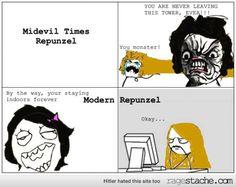 Repunzel Midevil Vs Modern
