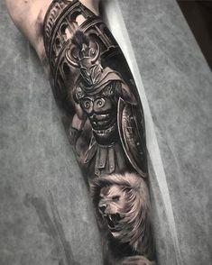 Warrior Tattoo Sleeve, Lion Tattoo Sleeves, Armor Tattoo, Warrior Tattoos, Leg Tattoo Men, Full Sleeve Tattoos, Viking Tattoos, Tattoo Sleeve Designs, Forearm Tattoos